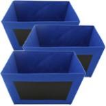 3er Set Aufbewahrungsbox mit beschreibbarer Kreidetafel Blau