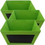 3er Set Aufbewahrungsbox mit beschreibbarer Kreidetafel Grün