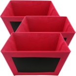 3er Set Aufbewahrungsbox mit beschreibbarer Kreidetafel Pink