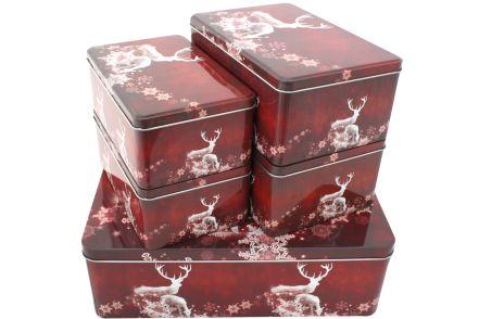 5er set geb ckdose eckig rot hirsch metall keks pl tzchen. Black Bedroom Furniture Sets. Home Design Ideas