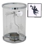 Teelichthalter mit Windspiel Glas Metall Karussell Engel