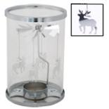Teelichthalter mit Windspiel Glas Metall Karussell Rentiere