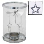 Teelichthalter mit Windspiel Glas Metall Karussell Sterne