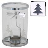 Teelichthalter mit Windspiel Glas Metall Karussell Tannen