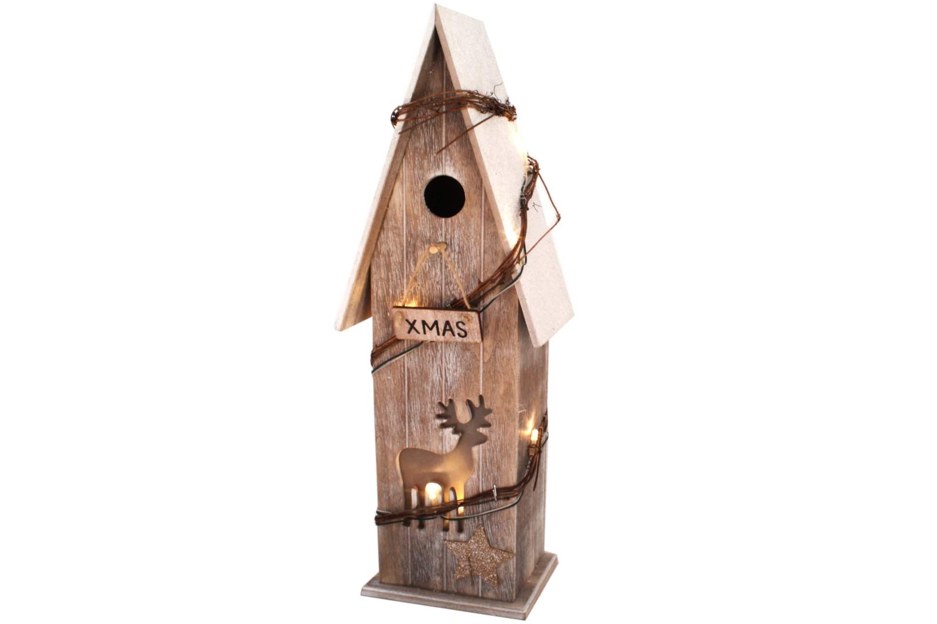 deko holzhaus xmas mit led beleuchtung 43 cm weihnachten. Black Bedroom Furniture Sets. Home Design Ideas