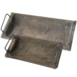 Deko Holzschalen mit Metallgriffe 2er Set 43/30 cm Echtholz
