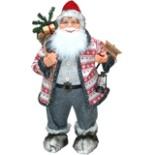 Dekofigur Weihnachtsmann 60 cm mit Schild, Laterne & Sack