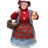 Dekofigur Weihnachtsfrau 60 cm mit Körbchen & Geschenke