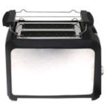 Toaster mit Aufsatz 750 Watt Edelstahl Schwarz Scheibentoast