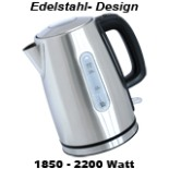 Edelstahl Wasserkocher Deski schnurlos 1,7 L 2200 Watt