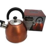 Edelstahl Wasserkessel Bronze 2,5 Liter mit Flöte Pfeife