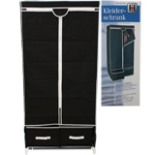Kleiderschrank Schrank mit 2 Schubladen Schwarz-weiss Textil