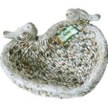 Garten Vogeltränke 38,5 cm Steinoptik in Herzform mit Vögel