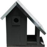 Vogelhaus 2 in 1 Nistkasten u. Futterstelle Grau Schwarz