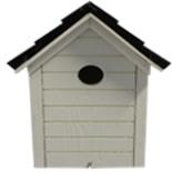 Vogelhaus Nistkasten Weiß mit Schwarzem Dach 19 x 25 cm