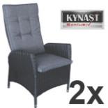 2-er Set Poly Rattan Sessel anthrazit verstellbar Auflage