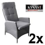 2-er Set Poly Rattan Sessel hellgrau verstellbar Auflage