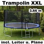 Trampolin XXL 366 cm Leiter Sicherheitsnetz Sprungtuch 3,66