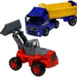 Sandkasten Fahrzeuge Kipper u. Radlader Set gelb rot blau