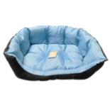 Heimtier Hunde Bett blau schwarz 72 x 60 x 23 cm Groß