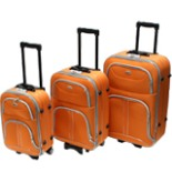 Koffer Set Trolley 3-er Polyester in orange Reisekoffer