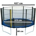 Intertek XXL Trampolin 4,3 Meter 14 FT mit Netz Leiter Plane