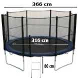 Intertek XXL Trampolin 3,6 Meter 12 FT mit Netz Leiter Plane