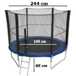 Intertek XXL Trampolin 2,50 Meter 8 FT mit Netz Leiter Plane