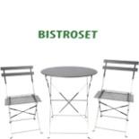 Bistro Set Garnitur 3 tlg. Sitzgruppe aus Metall Anthrazit