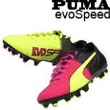 Puma Fußballschuhe evoSPEED Gr42,5 Neon gelb/pink mit Muster