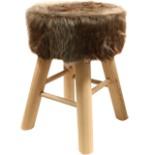 Holz Hocker Sitzhocker mit Kunstfellbezug massiv Kiefer