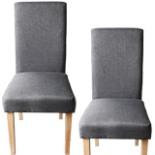 2er Set Polsterstuhl grau mit Holzbeine Lehnstuhl Stühle