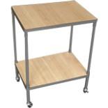 Rolltisch mit 2 Ablageböden grau 65 x 50 x 35 cm eckig