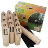 Kegelwurf Spiel mit Zahlen Nummern Kubb Kegeln inkl. Tasche