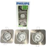 Philips Einbaustrahler Spot Set 3tlg. Alu gebürstet Eckig