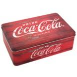 Coca Cola Vorratsdose aus Metall eckig rot im Retro Stil