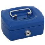 Geldkassette Mini 12 cm mit 2 Schlüssel und Münzfach BLAU