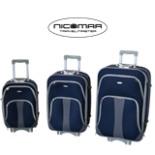 Trolley Set 3-teilig Blau Nylon Reisekoffer Tasche Kofferset
